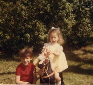 With my brother Tony and my new Steiff pony