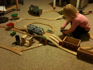 One of our testers enjoying playing with trains