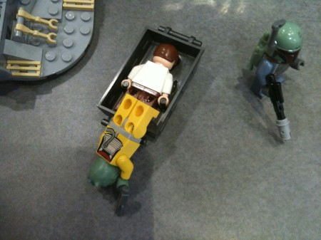 Star Wars LEGO: Hans Solo being placed in carbonite